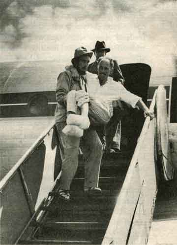 True Summit - Lionel Terray carrying Louis Lachenal from airplane on return from Annapurna 1950
